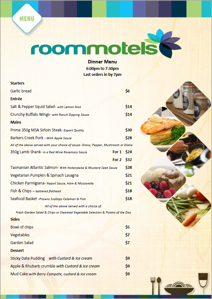 ROOM Motels Dinner Menu